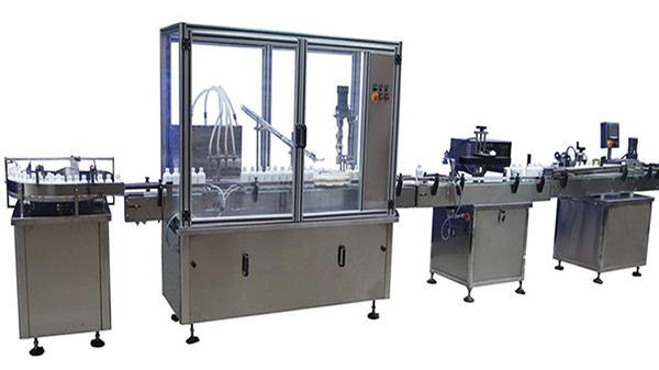 Máquina automática de recheo e etiquetaxe de recheo de botellas