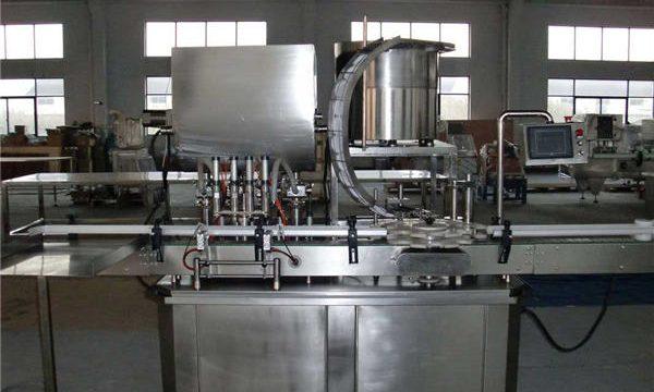 Máquina automática de recheo de pistón de liña recta
